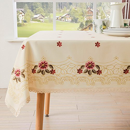 Decorative Red Floral Print Lace Water Resistant Tablecloth Wrinkle Free and Stain Resistant Fabric Tablecloths for Kitchen Room 60 Inch by 84 Inch