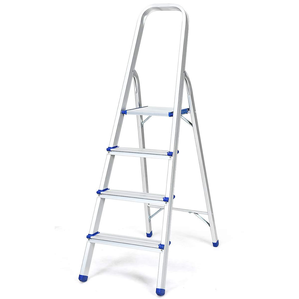 Silbrig Belastbarkeit 150 kg 5 Stufen Stehleiter Klappbar COSTWAY Trittleiter Leiter aus Aluminium Haushaltsleiter Klappleiter Mehrzweckleiter