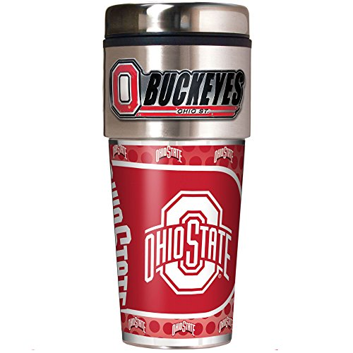 NCAA Ohio State Buckeyes Metallic Travel Tumbler,  (Ohio State Buckeyes Travel Mug)