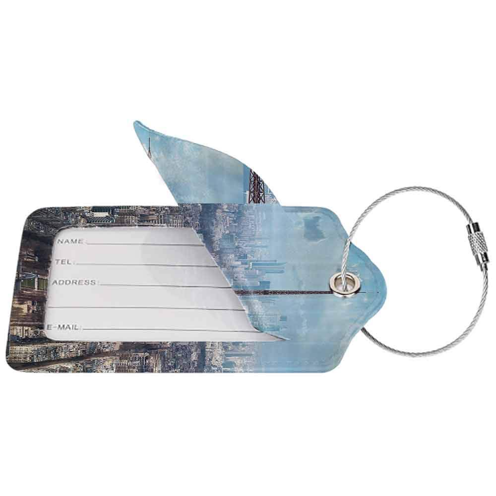 Waterproof luggage tag Eiffel Tower Aerial View of Eiffel Tower Clear Day Boulevard Busy Town Park Skyscrape Soft to the touch Pale Blue Brown W2.7 x L4.6