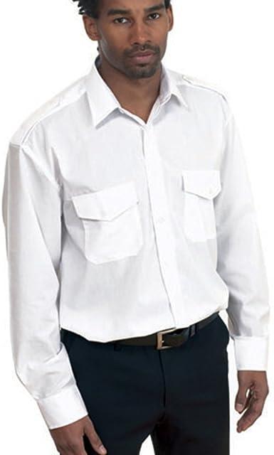 UC707 – Blanco – Grande – para Hombre – Manga Larga Camisa de piloto: Amazon.es: Ropa y accesorios