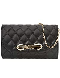BMC Womens PU Leather Gold Bow Accent Quilted Pattern Fashion Clutch Handbag