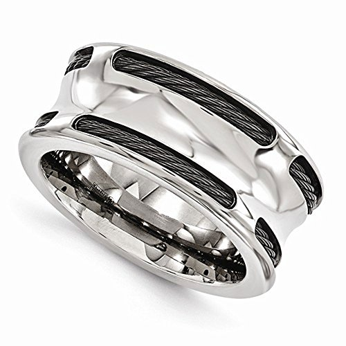 Edward Mirell Titanium Concave Stainless Steel Cable 10mm Wedding Band - Size 13 by Edward Mirell