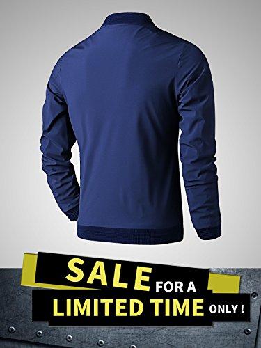 LTIFONE Mens Casual Jacket Zip up Lightweight Bomber Flight Sportswear Jacket Windbreaker Softshell with Ribbing Edge(Blue,L) by LTIFONE (Image #1)