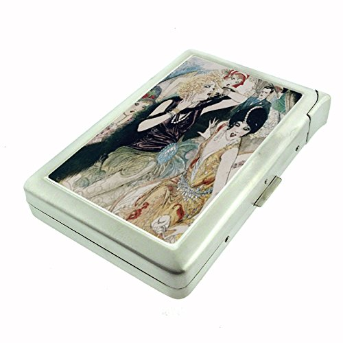 Perfection In Style Metal Cigarette Case with Built In Lighter Vintage Art (Style Cigarette Lighter)