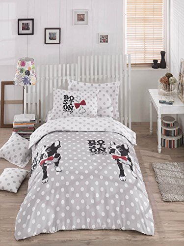 DecoMood Boston Terrier Polka Dot Bedding Set, Dogs Themed Single/Twin Size Quilt/Duvet Cover Set, Grey (3 Pcs) (Button Terrier)
