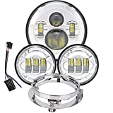 7 inch Daymaker LED Headlight DOT Kit Set Fog Passing Lights for Harley Davidson Ultra Classic Electra Street Glide Road King Heritage Softail Deluxe Slim Fatboy Motorcycle Headlights Headlamps Chrome