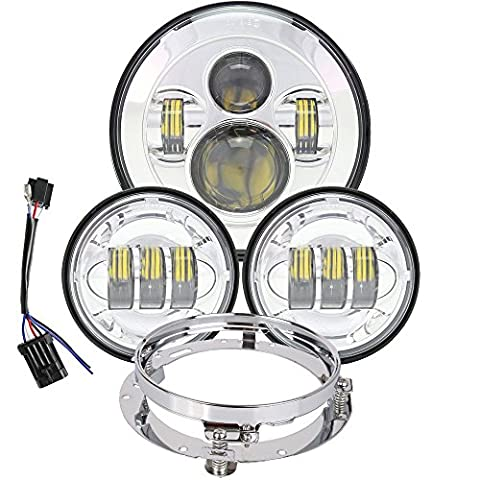 7 inch Daymaker LED Headlight DOT Cree Chip 4.5 Passing Fog Light Bucket for Harley Davidson Ultra Classic Electra Street Glide Fat Boy Road King Heritage Softail Deluxe Fatboy Lamp Headlamp - 2007 Harley Davidson Heritage Softail