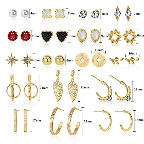 CHANBO Women's 18 Pairs Stud Earrings Gold Silver Metal Small Metal Geometric Round Pearl Earrings