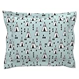 Roostery Tipi Euro Flanged Pillow Sham Tipi // Mint and White Kids Nursery Black and White Southwest Teepee by Andrea Lauren Natural Cotton Sateen Made