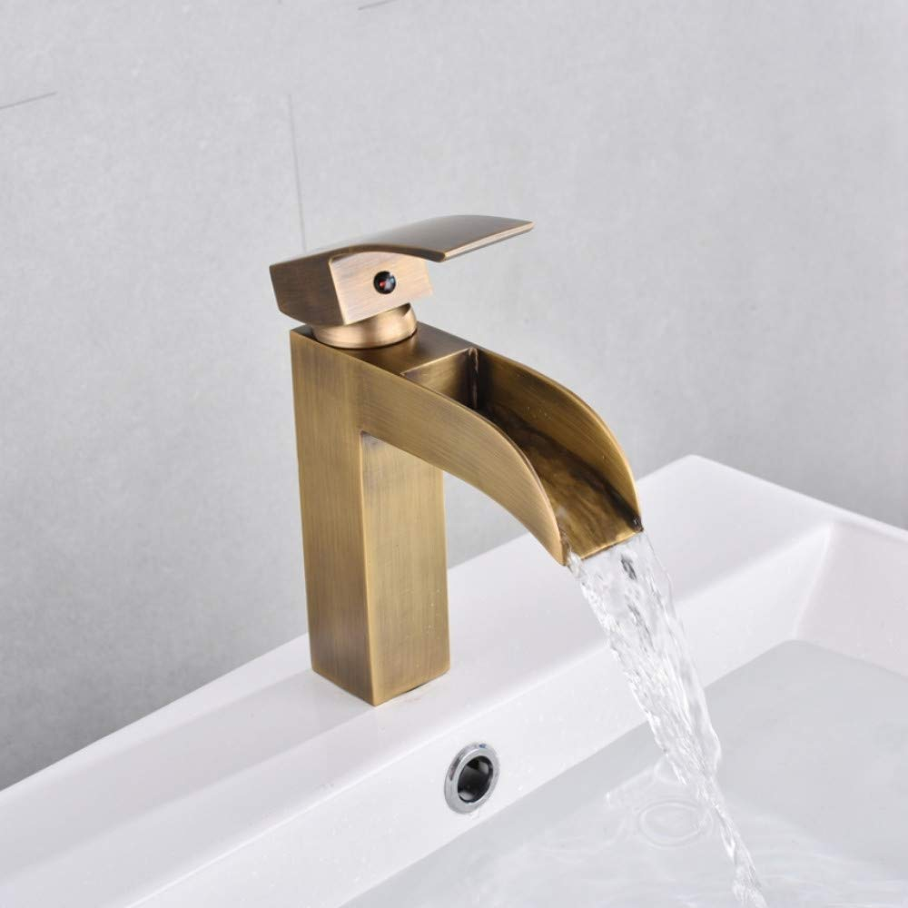 Lddpl Basin Faucet Retro Black Waterfall Bathroom Basin Faucet Brass Antique Hot Cold Single Handle Hole Bathroom Sink Mixer Taps