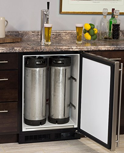 Marvel Built-In Kegerator with X-CLUSIVE Premium 1 Faucet Homebrew Keg Tapping Kit - Black/Stainless