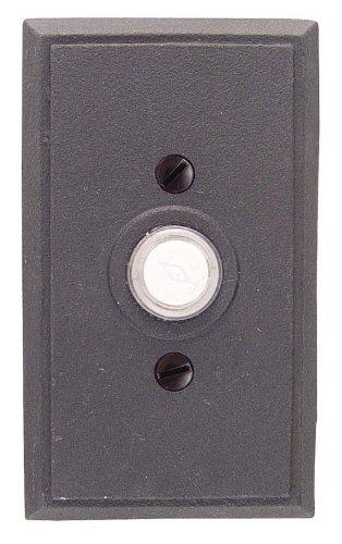 Emtek 2433 4-3/8'' Height Rectangular Style Steel Lighted Doorbell Rosette from t, Satin Steel by Emtek (Image #1)