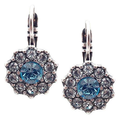 Mariana Italian Ice Swarovski Crystal Silvertone Earrings Aqua & Clear Mosaic Poinsettia 141 (Swarovski Ice Flower)