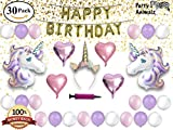 Unicorn Party Supplies Set & Party Decorations for Kids, Glitter Unicorn Headband for Birthday Girl, Gold Happy Birthday Banner, Foil & Latex Balloons, w/ Air Pump, 30 piece Unicorn Theme Decor Pack