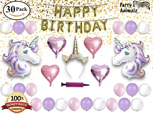 Find Discount Unicorn Party Supplies Set & Party Decorations for Kids, Glitter Unicorn Headband for ...
