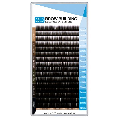 (Brow Building 0.10 I Curl Semi Permanent Individual Eyebrow Extensions Professional Salon Supply (Ebony Brown) by Brow Building)