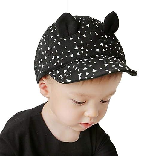314e742c538c4 Cute Summer Baby Hat Cartoon Cat Ear Baseball Cap Kid Boys Girls Casual  Black