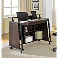 Altra Sutton Mobile Desk with Caster Wheels/Storage Shelves/Laptop Shelf, Cherry/Black