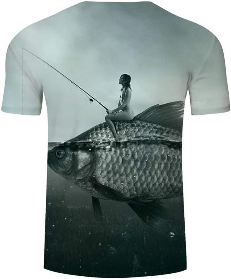DONGXIN Camiseta Casual para Hombre de impresión en 3D / Funny Fish Camiseta para Hombre y Mujer Harajuku Camiseta de Pesca/Top/Talla asiática para Pescar al Aire Libre Ocio Ropa Deportiva Deportiva: Amazon.es: