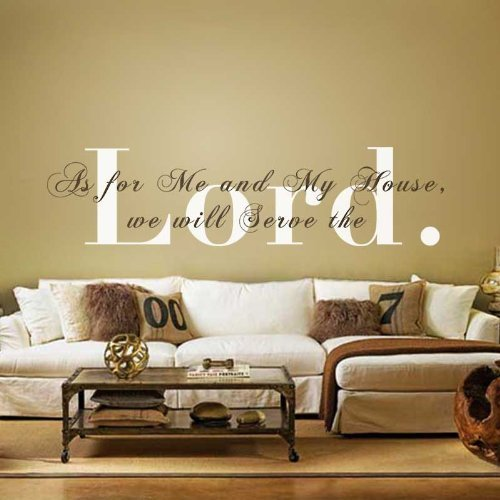 Monogram Wall Decal Vinyl Wall Quote Bible Verse Decal Religious Wall Sticker Wall Phrase Wall Words Wall Mural Wall Graphic Home Art Decoration 2(the word- Lord:White;the rest words:Dark Brown)