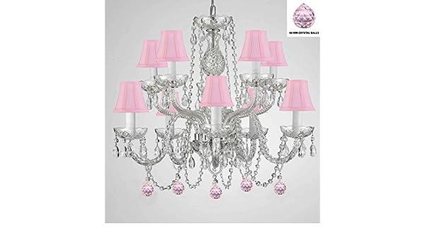 pink chandelier lighting. Empress Crystal Tm Chandelier Chandeliers Lighting With Pink Balls And Shades Amazoncom