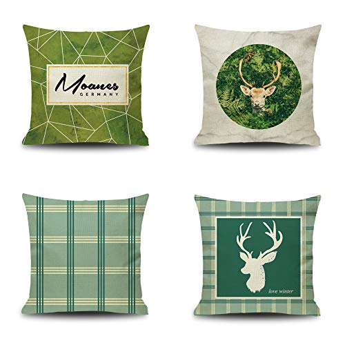 (YOUR SMILE Green Deer Square Cotton Linen Decorative Throw Pillow Case Cushion Cover Pillowcase for Sofa 18 x 18 Inch, Set of)