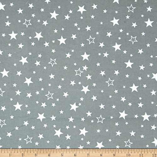 Brushed Cotton Fabric - Robert Kaufman Cozy Cotton Flannel Stars Grey Fabric by The Yard