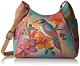 Anuschka Anna Handpainted Leather Large Multi Pocket Hobo, Bird on a Branch