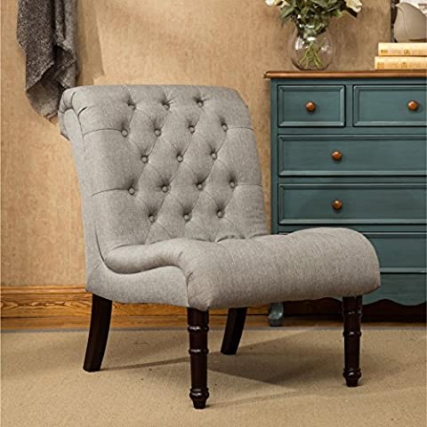 Grey Slipper Chair with Button Tufted For Living Room Made From Fabric and Wood, Contemporary Style Included Cross Scented Candle - French Country Living Room Furniture