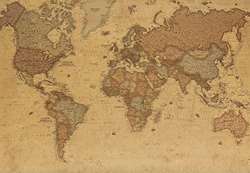 Wall26 - Antique Monochrome Vintage Political World Map Wallpaper ...