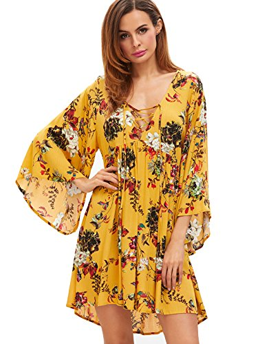 Milumia Women's Floral Print Front Cross Lace Up Deep V-neck Flare Sleeve Loose Short Mini Dress Yellow-2 L