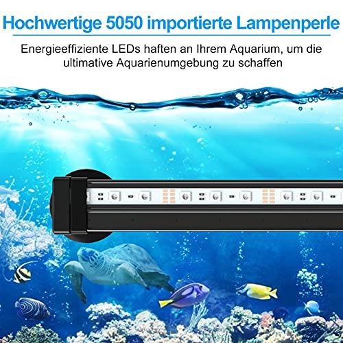 AKKEE Aquarium LED Beleuchtung Aquarium Lampe RGB mit Aquarium Bubble Light, IP68 LED Unterwasser Licht mit 24 Key Fernbedienung Farbwechsel für Aquarium Beleuchtung Deko Kit (32cm)