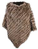 bestfur Women's Genuine Knitted Rabbit Fur Loose Cape Shawl Cloak