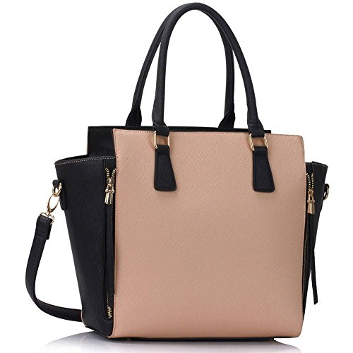 314 Tote LeahWard 502 Zipper LIGHT Women's Handbags Nice Shoulder Great 314A NUDE BLACK Bags wr8wvXq