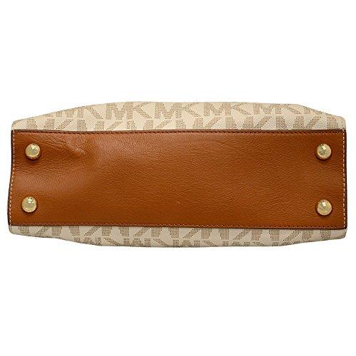 Michael Kors Hamilton MK Logo Satchel Bag (One Size, Vanilla)