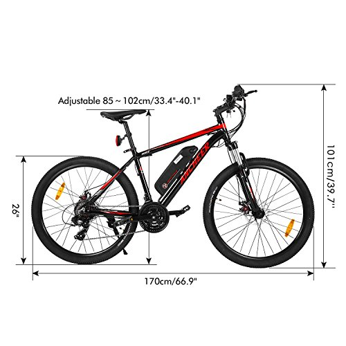 Ancheer 2018 Electric Mountain Bike with Removable LG 36V 8Ah Lithium-Ion Battery for Adults, 26 Inch Electric Mountain Bicycles with Shimano 21 Speed Shifter by ANCHEER (Image #6)