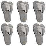 6 One Size Coloured Open Toed Terry Velour SPA Slippers (Grey)