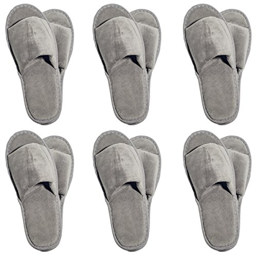 6 One Size Coloured Open Toed Terry Velour SPA Slippers (Grey) by NkBk