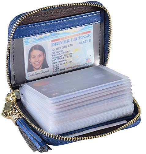 - Yuhan Pretty Womens Credit Card Holder Wallet RFID Leather Small ID Card Case (20 Card Slots - Dark Blue)