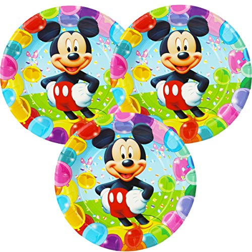 Betop House Mickey Mouse Themed 9 Inches and 7 Inch Round Party Paper Plates Party Supplies (Mickey, Pack of 12)