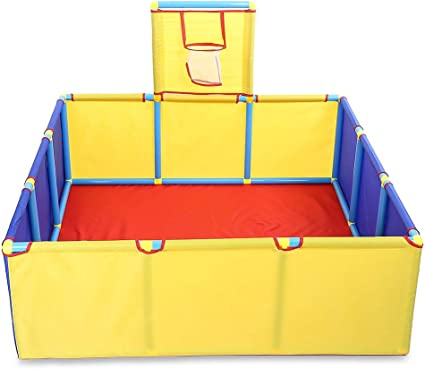 EISHOW Children Kids Ball Pit Toddler Play Game Tent Portable Folding Outdoor Square Ocean Sea Ball Pool with Mini Basketball Hoop Balls Not Included Gold