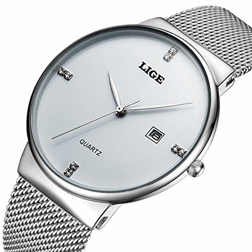 Slim Dress Watch (LIGE Slim Case Mens Watches with Mesh Band Waterproof Calendar Wristwatch Silver)