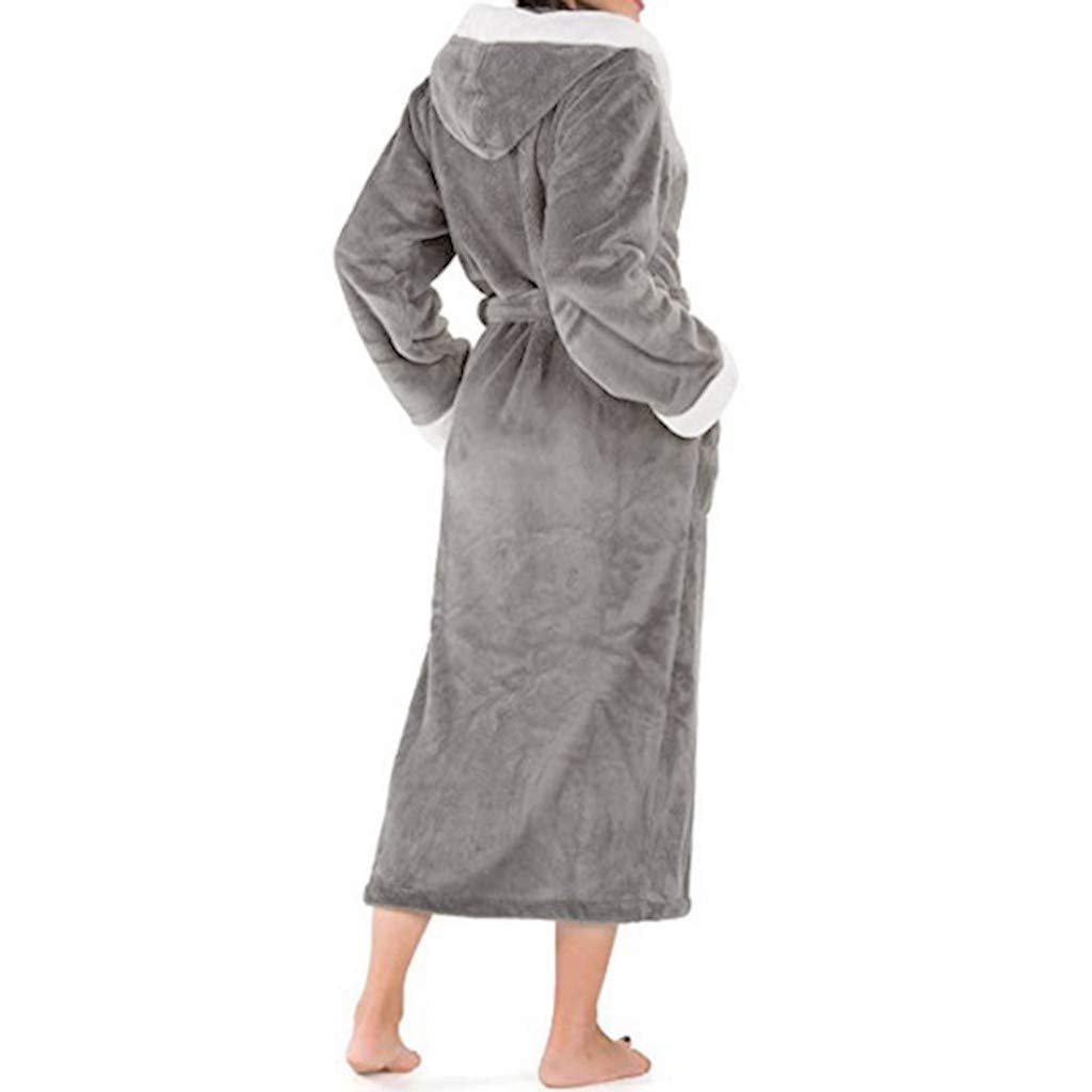 beautyjourney Albornoz con Capucha de Mujer Abrigo de Sauna de Manga Larga de Invierno Bata de Felpa Suave y esponjosa Bata Pijama: Amazon.es: Ropa y ...