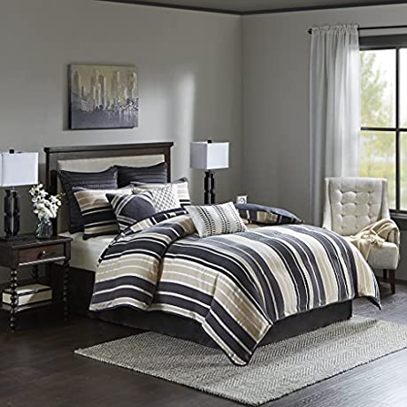 Bombay Jacquard 10 Piece Bedding Set Cal King Black Taupe