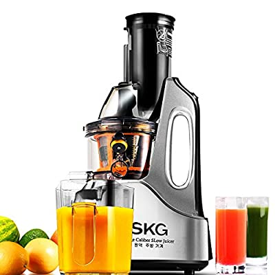 "SKG New Generation Wide Chute Anti-Oxidation Slow Masticating Juicer (240W AC Motor, 60 RPMs, 3"" Inches Big Mouth) - Vertical Masticating Cold Press Juicer by SKG ELECTRIC LLC"