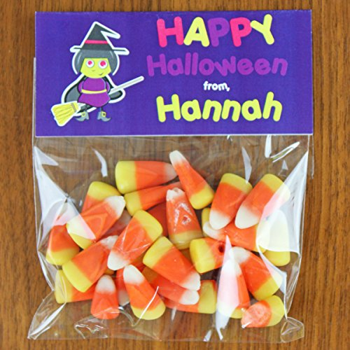 Broomstick Witch Halloween Candy Bag Toppers | Halloween Candy Bags | Halloween Party Favors | (20) Per Set (Halloween Broomstick Treat Bags)