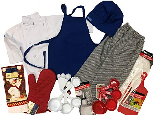 CHEFSKIN Children Professional Chef Outfit, not a Toy, Real Uniform, Chef Jacket Apron Hat Pants Mitts Towel Utensils Great Gift! (Kids XXL (10-12 yrs)) -