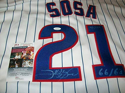 (Sammy Sosa Autographed Signed Memorabilia Russell Authentic Jersey #D/129 Chicago Cubs JSA)