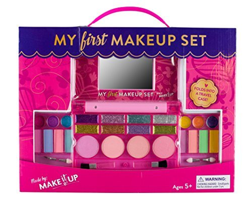 Kit Make Up (My First Makeup Set, Girls Makeup Kit, Fold Out Makeup Palette with Mirror and Secure Close - SAFETY TESTED- NON TOXIC)
